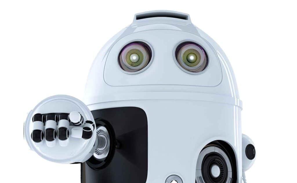 Roboter zeigt auf mich